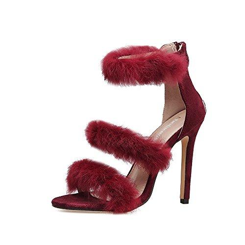 ZHZNVX Los Zapatos de Tacón Alto Cruz de Pelo de Conejo con Multa con Solo Zapatos, Zipper Color Sólido Sandalias Calzados Femeninos, Vino Rojo 39