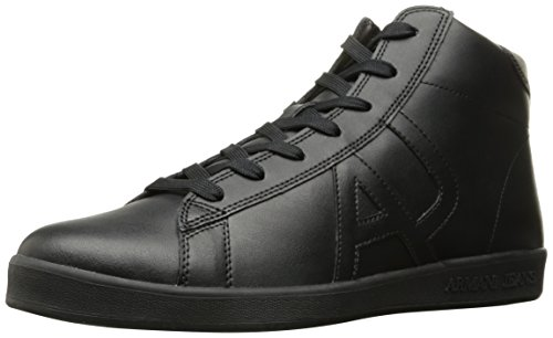 Armani Jeans Men's Leather High Top Fashion Sneaker - Bla...