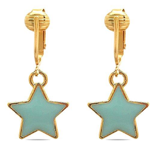 Bright & Fun Clip On Earrings for w Un-pierced Ears, Flowers, Bees, Ladybug, Sparkle Clip Earrings (Fun Stars)
