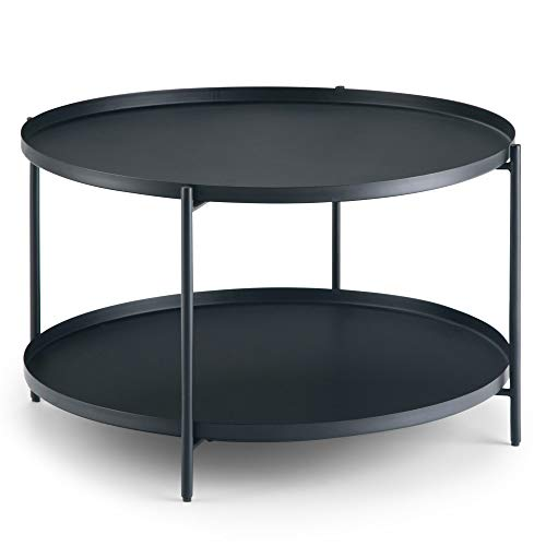 Simpli Home AXCMNT-01 Monet 32 inch Wide Square Modern Industrial Metal Coffee Table in Black ()