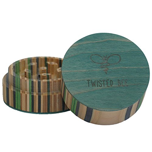 2 Piece Spice Herb Tobacco, Wood Grinder, Made from Recycled Skateboards | Twisted Bee (Green)