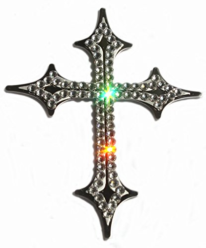 (Hotblings Bling Crystal ~ Cross ~ Chrome Plated AUTO Decal Sparkle Sign Made w/Swarovski Crystals)