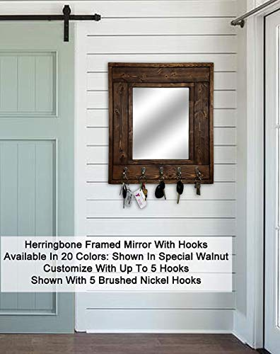 (Herringbone Mirror with Hooks – Customize With Up To 5 Single Hooks – Shown In Special Walnut – Rustic Decor – Decorative Mirror - Hanging Hooks - Coat Hooks -)