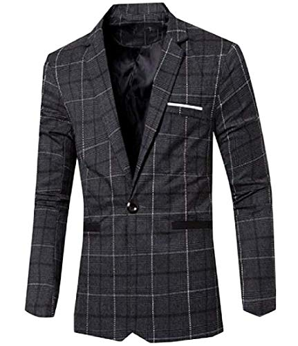 YUNY Men's Classic Plaid Vintage Stylish Business Suit Jacket Blazer Black S by YUNY