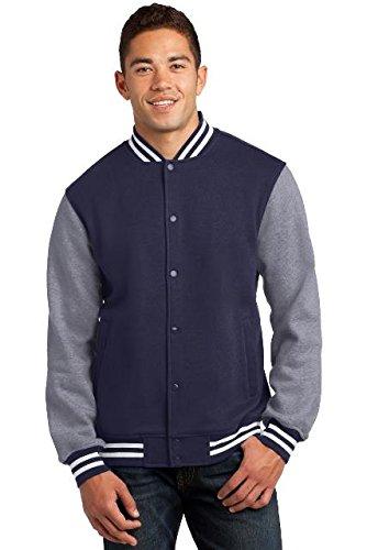 Vintage True Navy Heather (Sport-Tek Men's Fleece Letterman Jacket XXL True Navy/ Vintage Heather)
