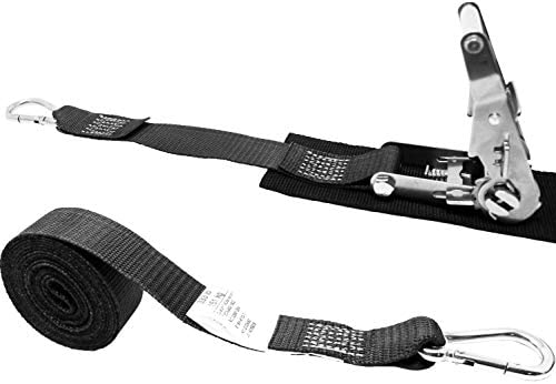 CustomTieDowns 2 Inch Ratchet Strap Vinyl Coated S Hook On Each End Stainless Ratchet Polyester Tie-Down Webbing. Protective Pad Under Buckle