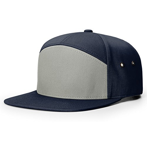(Richardson 7 Panel Cotton Twill Structured Camper Hat With Adjustable Leather Strapback (Pigeon/Navy))