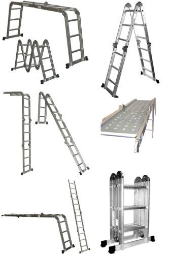 QuestCraft Multi Purpose Aluminum Folding Step Ladder 12.5FT Foldable scaffolding Ladders by QuestCraft by QuestCraft