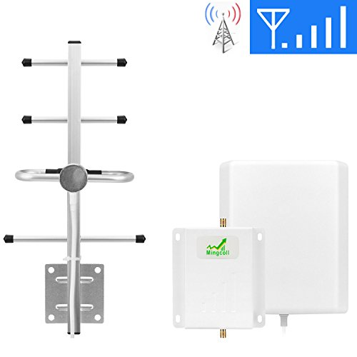 Cell Signal Booster ATT T-Mobile 4G Lte 700MHz Band 12/17 FDD LTE Mingcoll Cell Phone Signal Repeater Booster for Home and Office (Panel/Yagi(white-att))