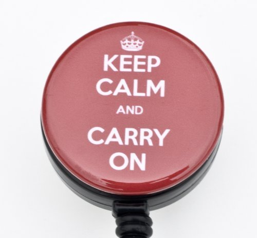 Keep Calm and Carry On 1.25  Badge Reel  Retractable Badge Reel  ID Badge Holder- Solo badge reel or Rhinestone lanyard and Badge Reel Set (rot Badge Reel) by Sizzle City