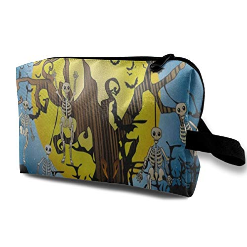 Makeup Bag Halloween Skull Tree Candle Bald Tree Handy Travel Multifunction Clutch Pouch Bags Hot Holder For Women ()