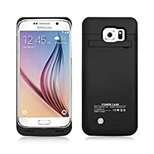 Galaxy S6 Battery Case, NewNow 4200mAh Ultra Slim Rechargeable Extended Charging Case Battery Replacement Cover Backup Power Bank Case with Kickstand for Samsung Galaxy S6 (Black case)