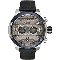Timecode Hubble 1990 TC-1014-02 46mm Men's Watch Silver tone dial BLACK Leather Date Chronograph