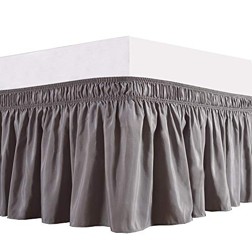 Orient Home Collection De Moocci Luxury Wrap Around Style, Elastic Bed Wrap Ruffled Bed Skirt 16inch Drop, Platform Free, 2 Sizes, 100% Polyester (Grey Queen/King) - Slipcover Headboard Cotton