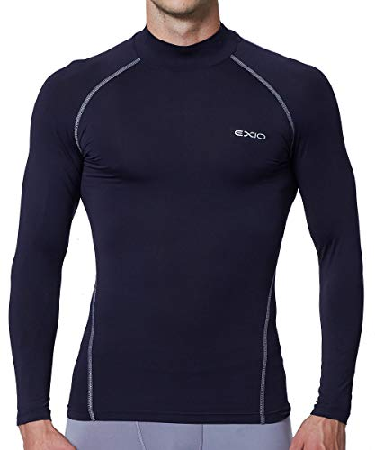 Youth Long Sleeve Mock Turtleneck - EXIO Mens Mock Compression Baselayer Top Cool Dry Long-Sleeve Shirt EX-T02 (Medium, EXT02-NVL)