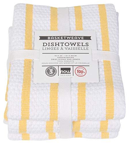 - Now Designs Basketweave Kitchen Towel, Set of 3, Lemon (Renewed)