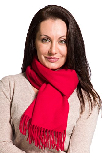 (Fishers Finery Women's 100% Pure Cashmere Scarf; Christmas Gift (Red))