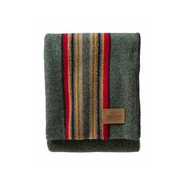 Pendleton Yakima Camp Wool Throw Blanket, Green Heather Mix, One Size
