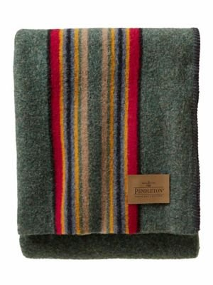 (Pendleton Yakima Camp Wool Throw Blanket, Green Heather Mix, One Size)