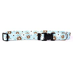 """Yellow Dog Design Daisy Chain Blue Dog Collar 1"""" Wide and Fits Neck 18 to 28"""", Large"""