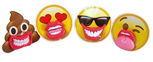 Emoji Emojicon Smily Face Lip Pops Lollipops, .8 oz (Pack of 4) -