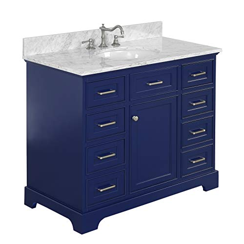 Aria 42-inch Bathroom Vanity (Carrara/Royal Blue): Includes a Royal Blue Cabinet with Soft Close Drawers, Authentic Italian Carrara Marble Countertop, and White Ceramic Sink