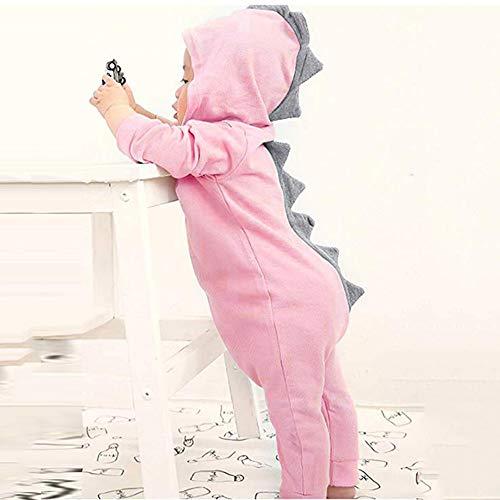 Coohole Cute Infant Toddler Baby Girls Boys Cartoon Dinosaur Romper Long Sleeve Hoodie Jumpsuit (18M, Pink) ()