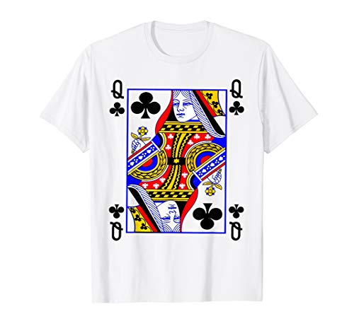 Queen Of Clubs Card Playing Card Poker Costume Card T-Shirt -