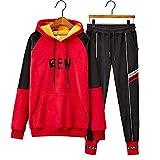 Men's Tracksuit Long Sleeve Running Jogging Sports Jacket Pants(Red-Large)