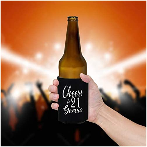 Shop4Ever Finally 21 ~ Cheers to 21 Years Can Coolie ~ 21st Birthday Party Beer Can Sleeve Coolers ~ (Black, 13) |