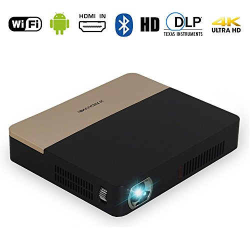 DLP 3D 4K Bluetooth Projector - Portable Dual WiFi Built-in Battery Airplay Miracast Googleplay Kodi XBMC 200' for Home Theater Cinema, Business, Education, PPT, Presentation