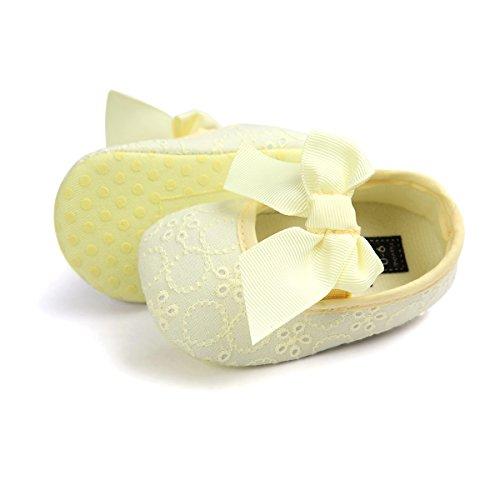 Auxma Neugeborene Baby mädchen Weiche Sole Bowknot Schuhe Weiche Unterseite Blume Prewalker Turnschuhe (11cm/0-6 Monate, Weiß) Gelb