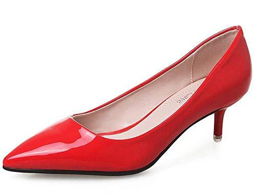 De Encaje color Fuxitoggo Temperamento Zapatos Rojo Tamaño Rojo Rosa 35 5xnn47qX