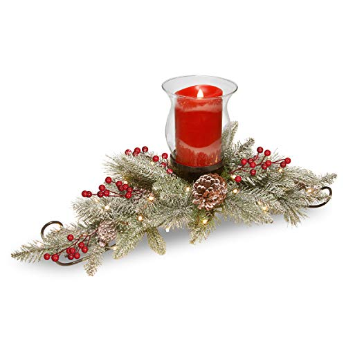 National Tree Feel Real Bristle Centerpiece with Battery Operated Lights, Berries, and Cones, 30'', Green by National Tree Company (Image #1)