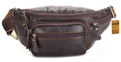 OrrinSports Leather Fanny Packs with 6 Zippers & Adjustable Waist Pack for Sports & Leisure Brown - Mens Macys Bags