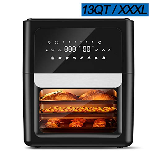 Air Fryer Oven 13QT XXXL with 41 Recipes, 360 Spin Fan Super-Heated Cyclonic Air, 1700W Fast Cook 8 Cooking Presets and 9 Accessories for Large Family, 1-Year-Warranty