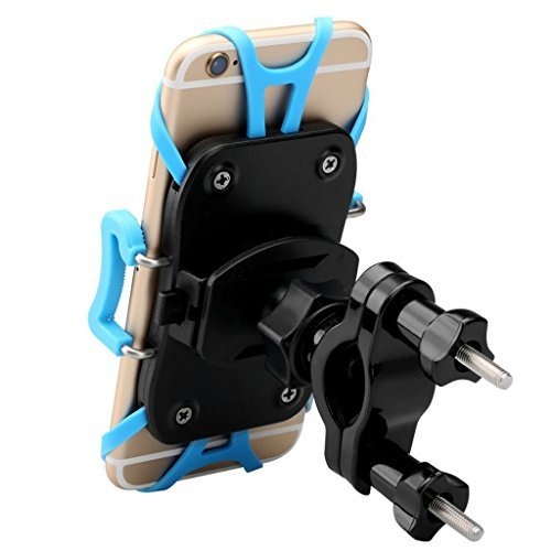 """Enkeeo Bike Mount Universal Motorcycle Cell Phone Holder Cradle with 360 Degree Rotation, Rubber Grips for iPhone 7/ 7 Plus/ 6S/ 6S Plus, Samsung Galaxy S7/ S6 S5 and GPS Device Up to 3.7"""" Wide"""