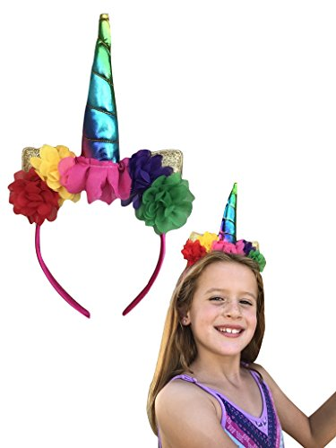 Price comparison product image DELUXE Rainbow Unicorn Horn Headband with Rose Flower, Animal Ears, Gold Spiral Trim - Birthday Party Cosplay Costume Christmas Stocking Stuffer Headwear Headpiece Headdress Adults Kids Girls Photos