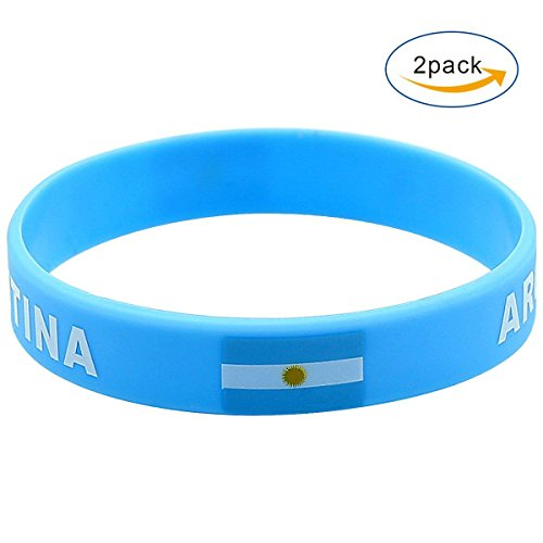 celets For World Cup 2018 Soccer Silicone World Cup National Flag Bracelets Unisex Rubber Band Fashion Wristbands (2 pack) (Argentina) (Silicone Flag)