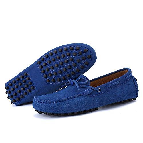 Aller Tour Hommes Mode Robe Décontractée En Cuir Appartements Conduite Mocassin Mocassins Chaussures Femmes-bleu