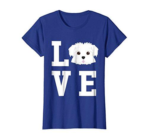 Blue Maltese - Womens I Love My Dog - Maltese Dog Lover T-Shirt Medium Royal Blue