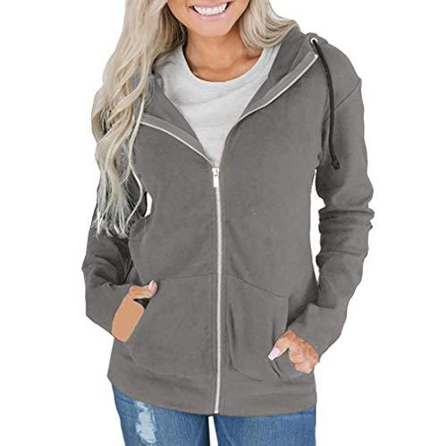 HUHU833 Fashion Women Hoodie Zipper Long Sleeve Sweatshirt Coat Outwear Hooded Jacket Overcoat Gray