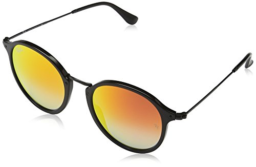 Ray-Ban ACETATE MAN SUNGLASS - SHINY BLACK Frame MIRROR GRADIENT RED Lenses 52mm - Rb Round