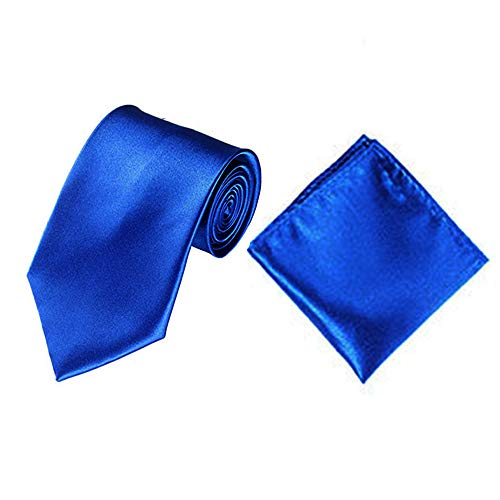 (Men Satin Slim Skinny 2'' (5cm) Necktie Pocket Square Set (Royal Blue))