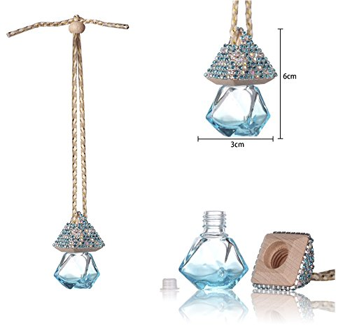 Mini-Factory Bling Auto Ornament Car Mirror Hanging Decoration Crystal Diamond Refillable Glass Air Freshener Empty Bottle for Car / Home / Office (Bottle only, Perfume NOT included) (Blue) (Bling Air Freshener For Car compare prices)