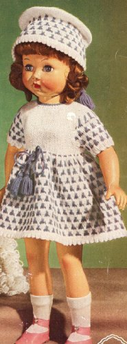 Vintage Knitting PATTERN to make - 18 inch Doll Dress Hat Clothes Set. NOT a finished item, this is a pattern and/or instructions to make the item only.