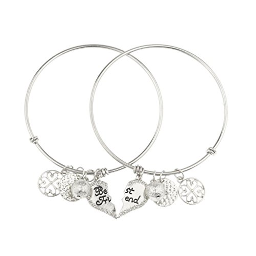 Lux Accessories Best Friends Forever BFF Keepsake Charm Bracelet Set (2 Pc).