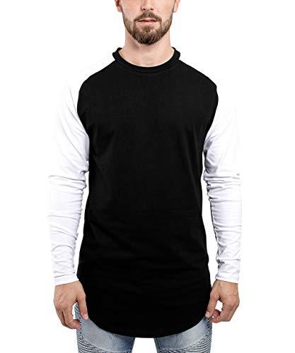 Raglan Noir T long manches à shirt longues pour HommeRouge S et hommes Blanc manches M XL à Gris longues à Bleu Noir pour Blanc L BlackskiesLongshirt Basic Fashion Basic manches longues 76vIgyfYb
