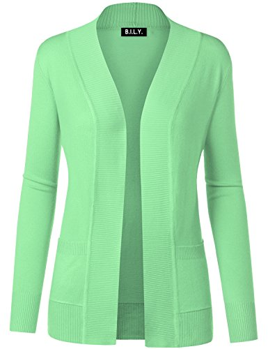 BH B.I.L.Y USA Women's Open Front Long Sleeve Classic Knit Cardigan Mint 2 Small
