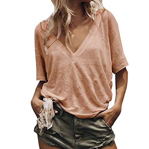 (Benficial Women Loose Casual Pure Color V Neck Short Sleeves Shirt Summer T Shirts Orange)